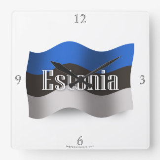 Estonia Waving Flag Square Wall Clock