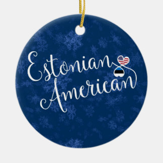 Estonian American Hearts, Christmas Tree Ornament, Ceramic Ornament