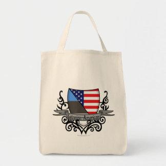 Estonian-American Shield Flag Tote Bags