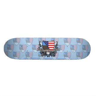 Estonian-American Shield Flag Skateboard Deck