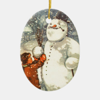 Estonian Boy with Snowman Christmas Tree Ornament