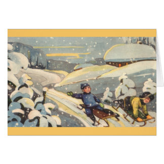 Estonian Children on Sleds Card