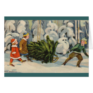 Estonian Family with Christmas Tree Greeting Card