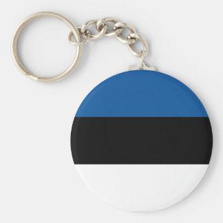 Estonian Flag Basic Round Button Key Ring