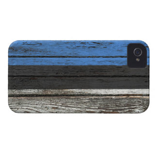 Estonian Flag with Rough Wood Grain Effect iPhone 4 Covers