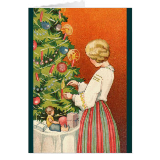 Estonian Girl at Christmas Tree Card