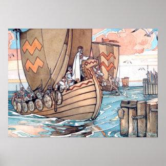 Estonian Viking Boat at Harbour, Watercolour Poster