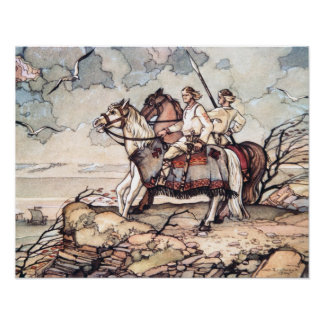 Estonian Vikings on Horseback, Watercolour Poster