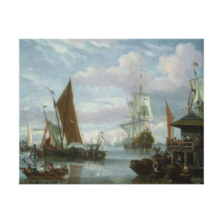 Estuary Scene with Boats and Fisherman Canvas Print