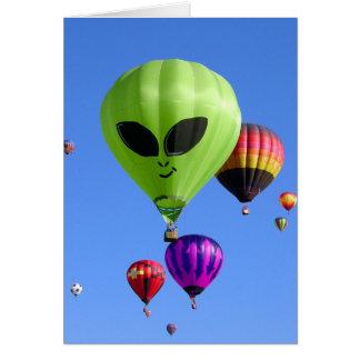 """ET Alien"" Hot Air Balloon 4x5.6 note card"