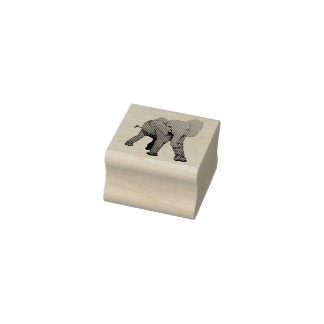 Etched Baby Elephant Rubber Stamp