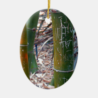 Etched Bamboo Ceramic Oval Decoration