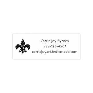 Etched Distressed Damask Fleur de Lis Business Rubber Stamp