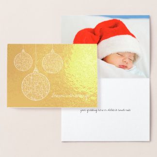 Etched Gold Foil Christmas Ornaments Holiday Card