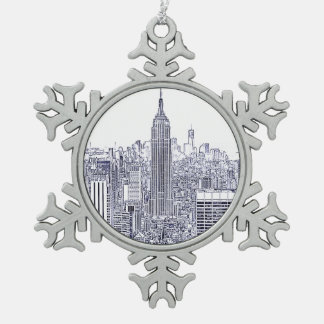 Etched Look NYC Skyline, Round Frame Snowflake Pewter Christmas Ornament