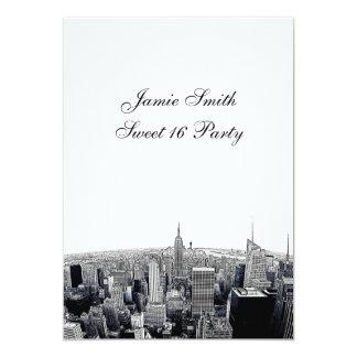 Etched NYC Fisheye Skyline 2 BW Sweet 16 V Card