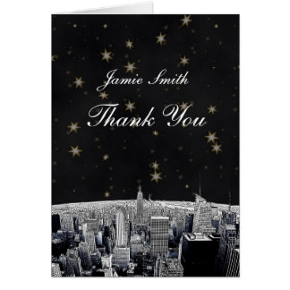 Etched NYC Skyline 2 Black Gold Star Thank You Card