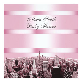 Etched NYC Skyline 2 Black Pink Baby Shower Card