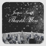 Etched NYC Skyline #2 Black White Heart Thank You Square Stickers