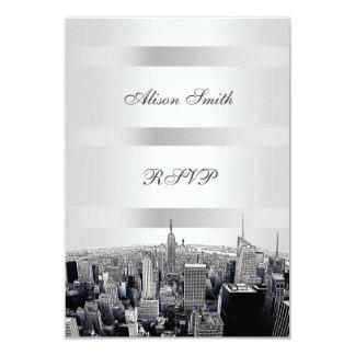 Etched NYC Skyline 2 Black White RSVP 1 9 Cm X 13 Cm Invitation Card