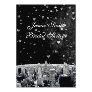 Etched NYC Skyline #2 Black Wht Hrt Bridal Showr V Card