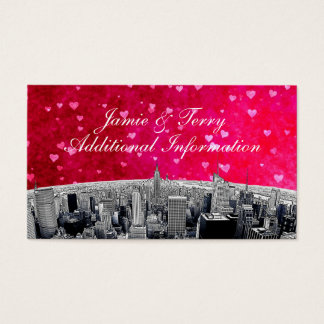 Etched NYC Skyline #2 Pink Red Heart Insert Card