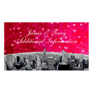Etched NYC Skyline #2 Pink Red Heart Insert Card Pack Of Standard Business Cards