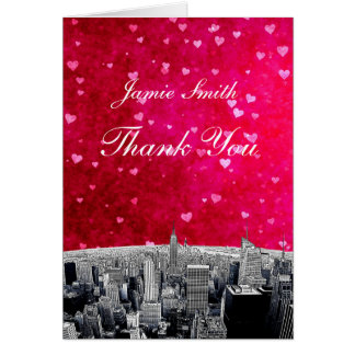 Etched NYC Skyline #2 Pink Red Heart Thank You Card