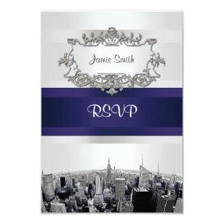 Etched NYC Skyline 2 White, Blue Ribbon RSVP 9 Cm X 13 Cm Invitation Card