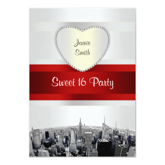 Etched NYC Skyline 2H White, Red Ribbon Sweet 16 Card
