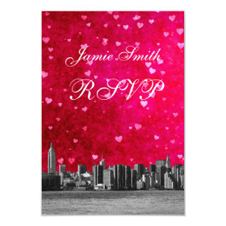 Etched NYC Skyline Hot Pink Red Heart RSVP w Menu Card