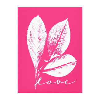 Etched Skeleton Leaf Raspberry Pink Love Stretched Canvas Prints
