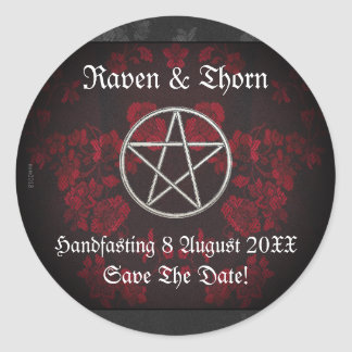 Eternal Handfasting/Wedding Pentacle Red Suite Classic Round Sticker
