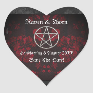 Eternal Handfasting/Wedding Pentacle Red Suite Heart Sticker