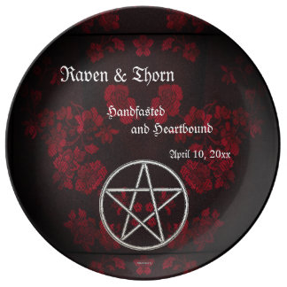 Eternal Handfasting/Wedding Pentacle Red Suite Porcelain Plates