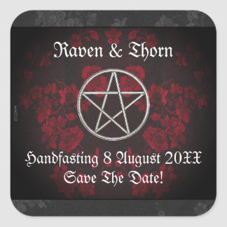 Eternal Handfasting/Wedding Pentacle Red Suite Square Sticker