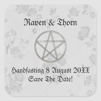 Eternal Handfasting/Wedding Pentacle White Ste Square Sticker