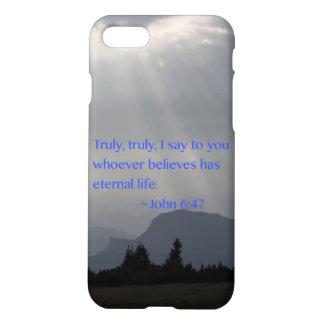 """Eternal"" John 6:47 iPhone 7 Case"