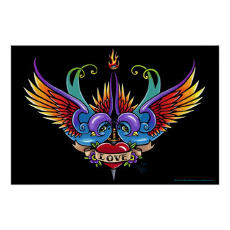 """Eternal Love"" Rainbow Swallow Heart Tattoo Poster"