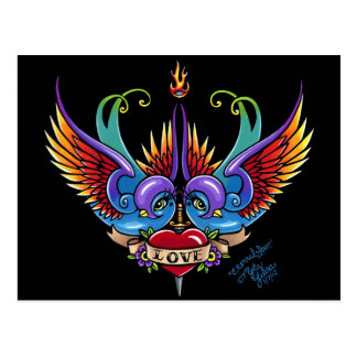 Eternal Love Rainbow Swallow Tattoo Postcard