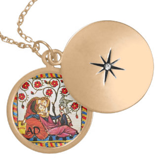 ETERNAL LOVE VALENTINE'S DAY PARCHMENT MONOGRAM ROUND LOCKET NECKLACE