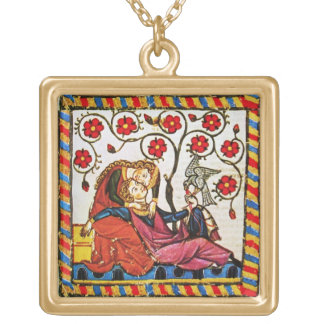 ETERNAL LOVE VALENTINE'S DAY  PARCHMENT SQUARE PENDANT NECKLACE