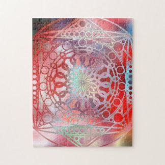 Eternity Mandala Red and Turquoise Jigsaw Puzzle