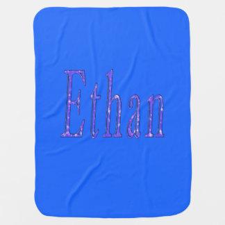 Ethan, Name, Logo, Baby Boys Blue Blanket. Baby Blanket