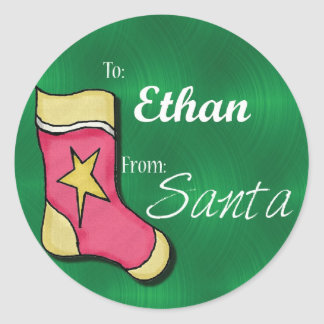 Ethan Personalized Christmas Label49 Round Sticker