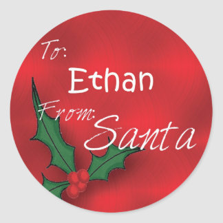 Ethan Personalized Holly Label49 Classic Round Sticker