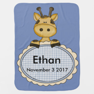 Ethan's Personalized Giraffe Baby Blanket