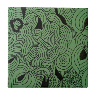 Ether Formation Green Ceramic Tile