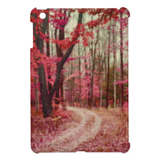Ethereal Forest Path With Red Fall Colors iPad Mini Cover