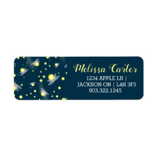 Ethereal Glowing Fireflies at Night Pattern Return Address Label
